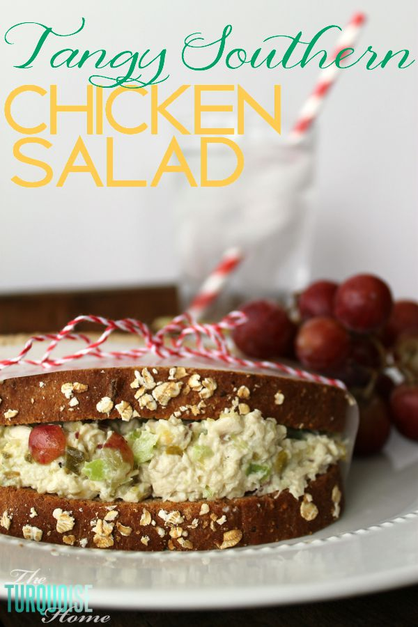This tangy, southern chicken salad is a staple in our home. The combination of chicken, sweet pickles, grapes, celery and Durkee's Famous Sauce will make your mouth water and leave your tummy satisfied. Make some and invite the whole family over! | Recipe at TheTurquoiseHome.com