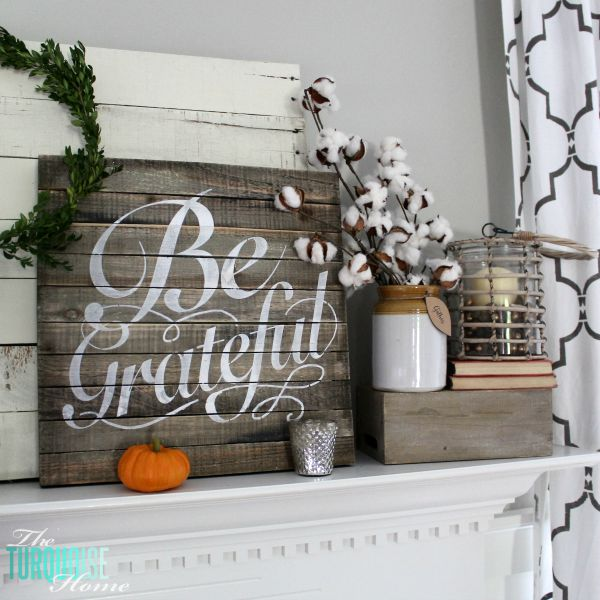 Plaids, neutrals and a few pops of autumnal color bring this message of gratitude home. I love the sweet reminder to be grateful this season - and always!   Grateful Fall Mantel   Details at TheTurquoiseHome.com