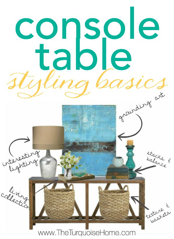 If you know the basics to styling a console table or any vignette, you're house will be looking like it's straight out of a magazine in no time!   Details at TheTurquoiseHome.com