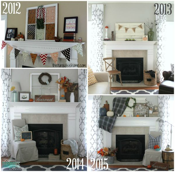 Fun side-by-side fall mantel comparison at TheTurquoiseHome.com