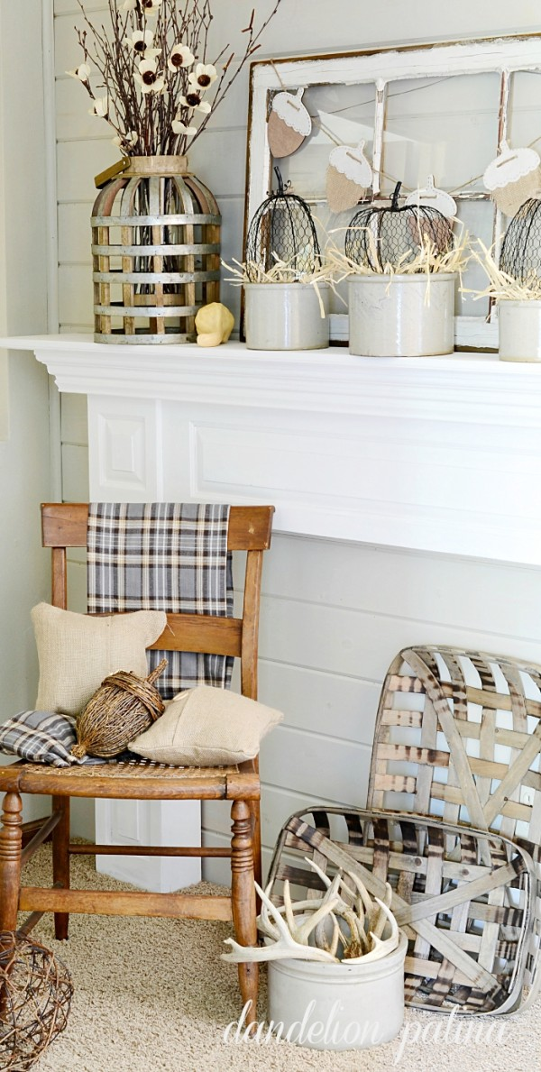 Rustic Autumn Mantel With Neutral Decor
