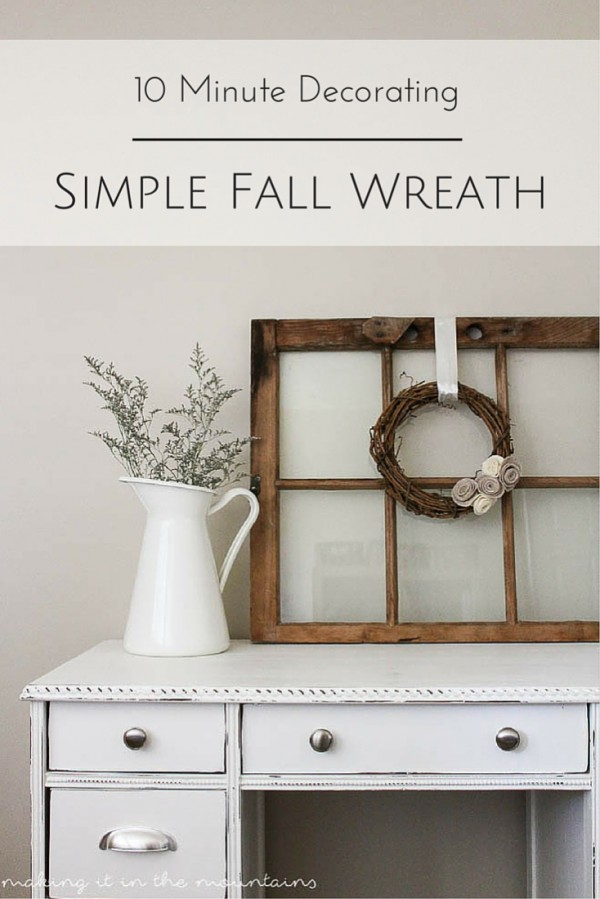 10 minute Neutral Fall Wreath and picture with fall decor.