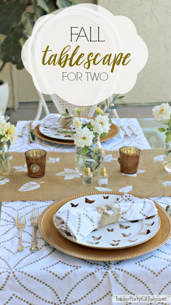 Fall Tablescape for Two with a table setting in neutral gold and white.