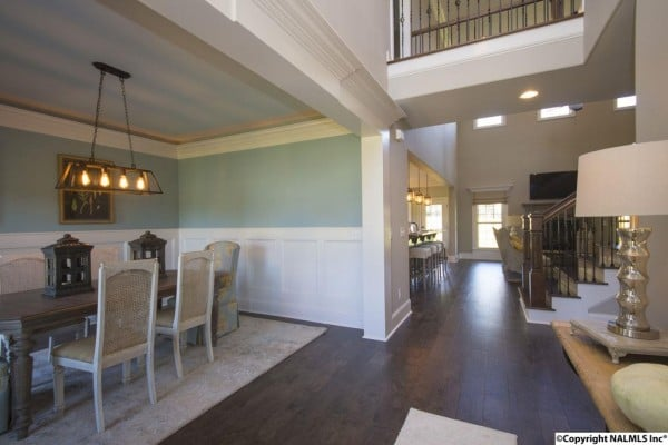 This beautiful dream home checks of every one of my wish list items. LOVE it!! Wall color in the dining room is Interesting Aqua by Sherwin Williams.