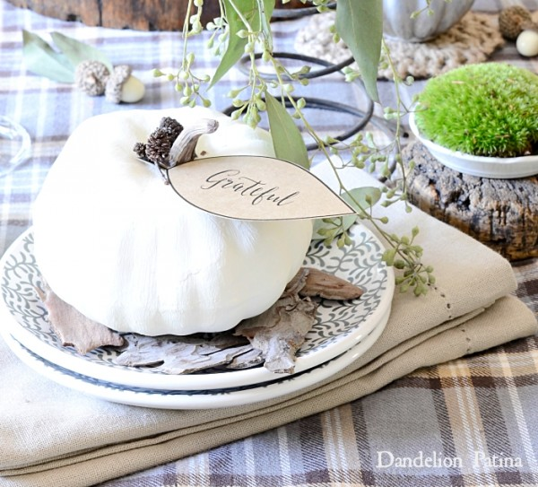 A white pumpkin with the word grateful on a tag wrapped around the stem, sitting on a plate.