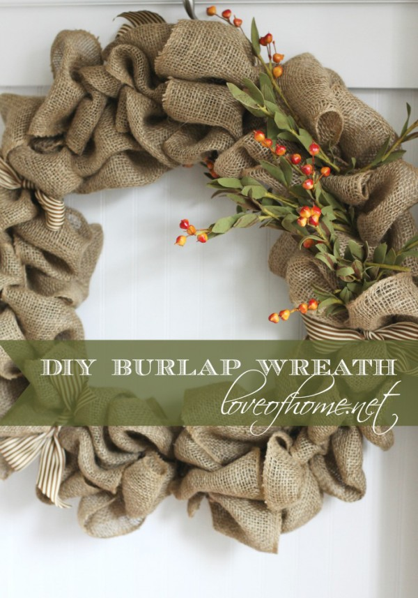 How to Make a DIY Burlap Wreath that is hanging on a door.
