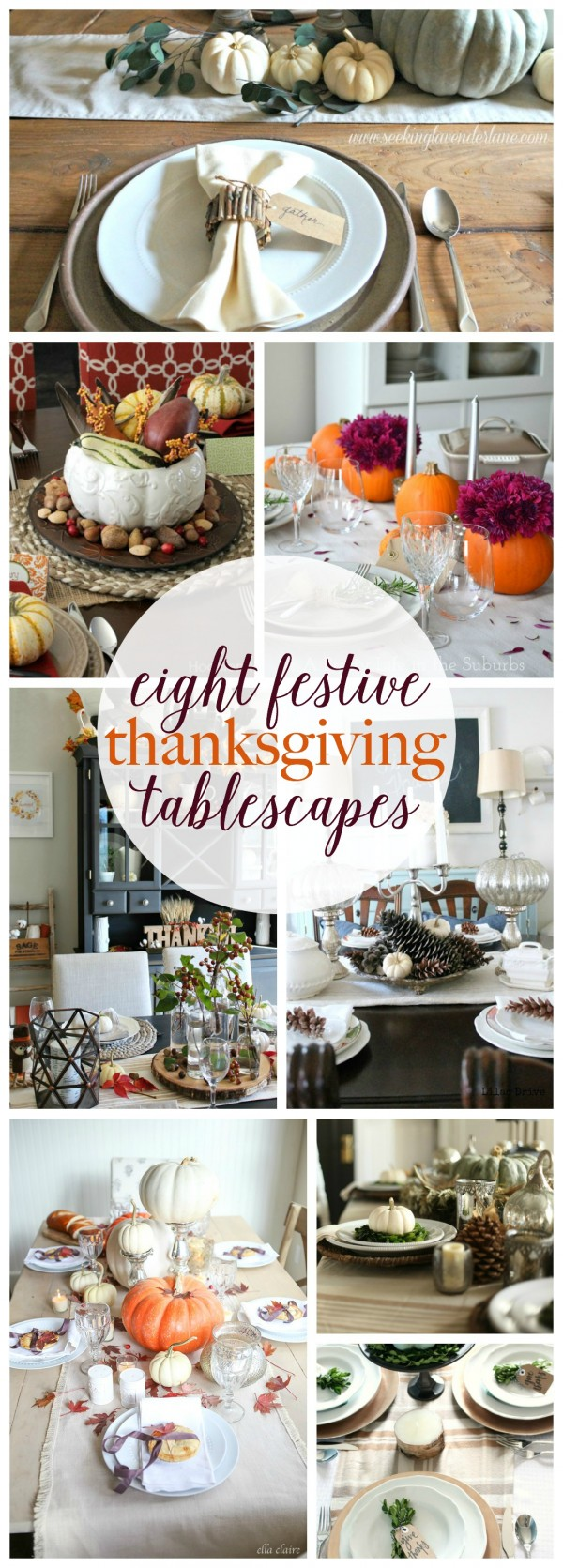 Treat your family to a gorgeous Thanksgiving table! Get some ideas with these 8 festive Thanksgiving tables capes. | Roundup via Work it Wednesday