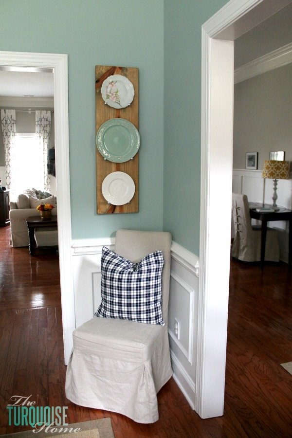 Make this DIY Industrial Plate Rack for less than $10! | Tutorial at TheTurquoiseHome.com