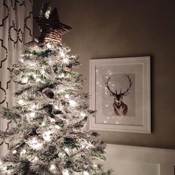 Beautiful flocked tree from ... Walmart! :) | TheTurquoiseHome.com