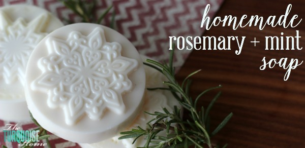 This homemade rosemary and mint soap is so easy to make! Only 3 ingredients and 10 minutes, smells amazing and would make excellent teacher or neighbor gifts! | Recipe at TheTurquoiseHome.com