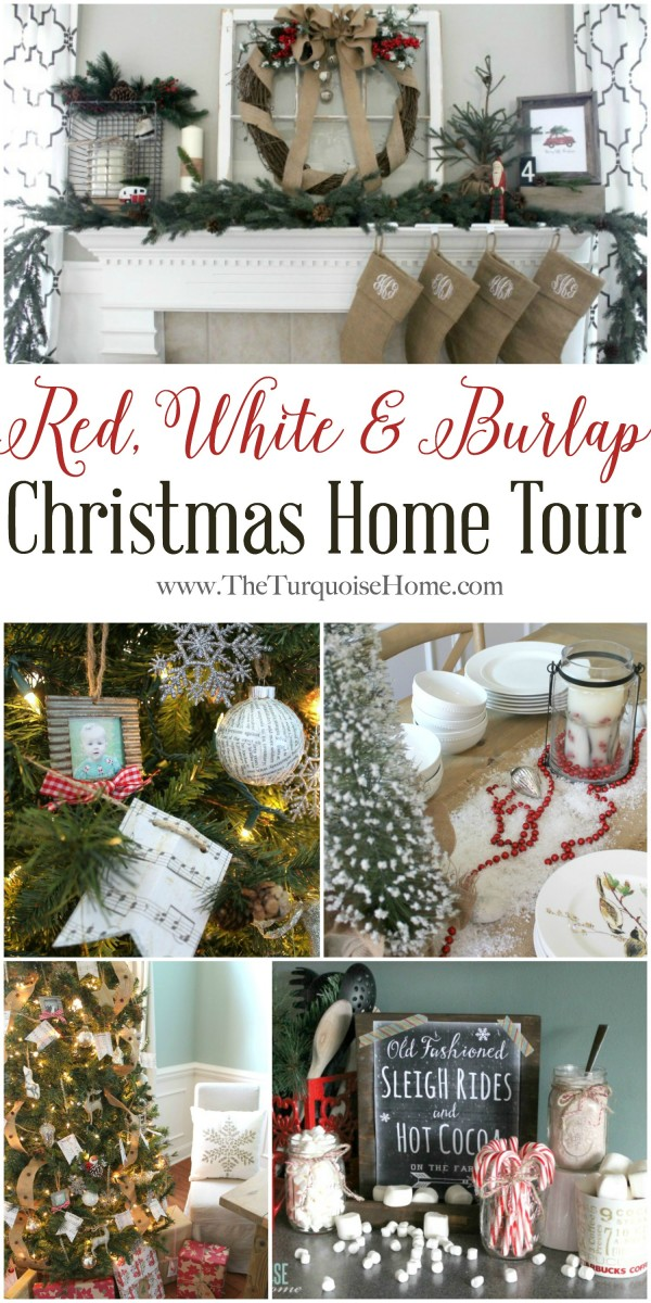 Red, White & Burlap Simple Christmas Home Tour | TheTurquoiseHome.com