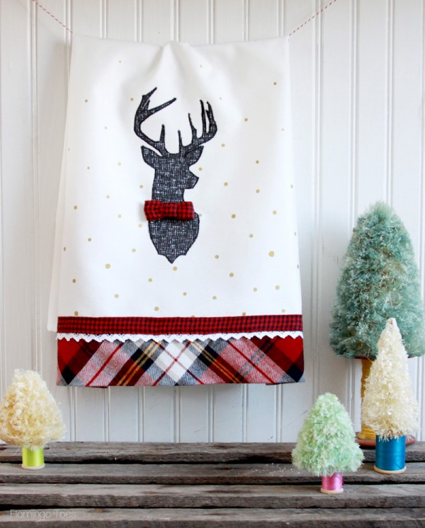 Stylish Christmas Deer Tea Towel from Flamingo Toes
