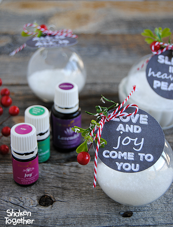 Bath Salt Ornaments with Free Printable Gift Tags from Shaken Together