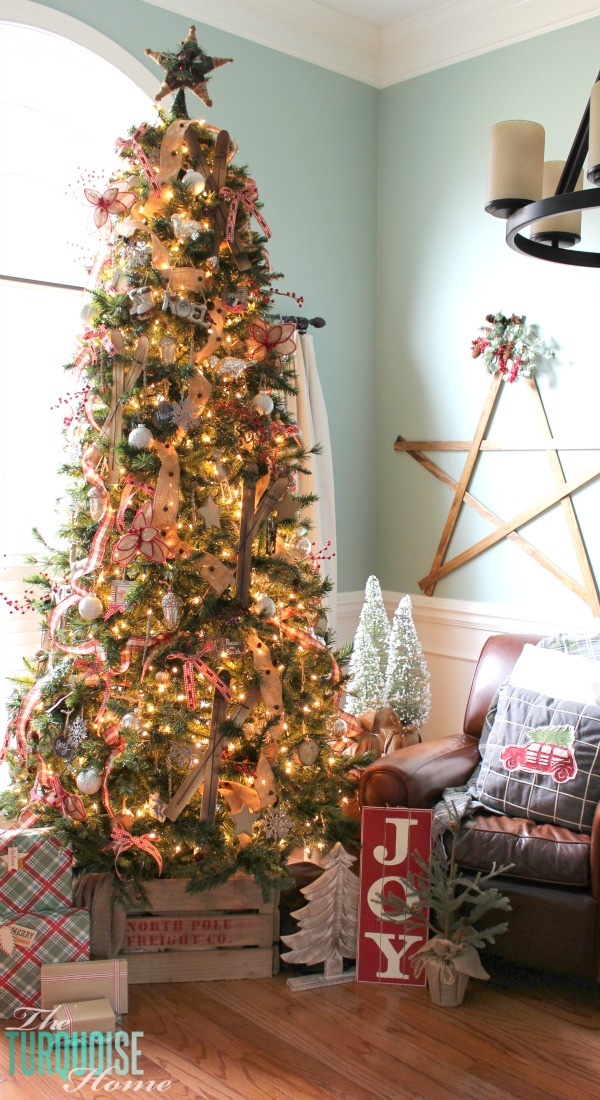 a country plaid and burlap christmas tree with burlap plaid and buffalo check