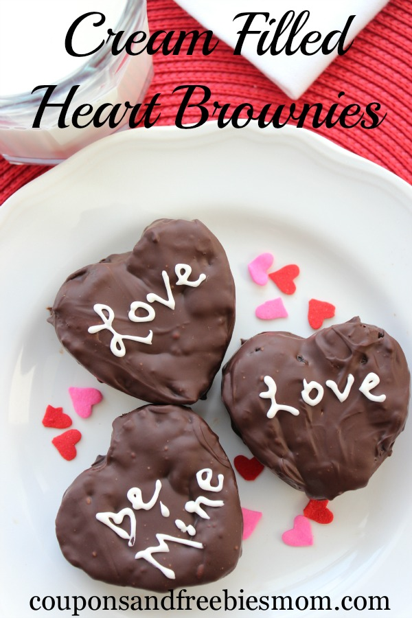 Cream Filled Heart Brownies