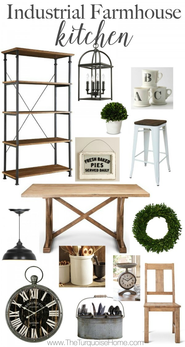 Get the look! An Industrial Farmhouse Kitchen | details at TheTurquoiseHome.com