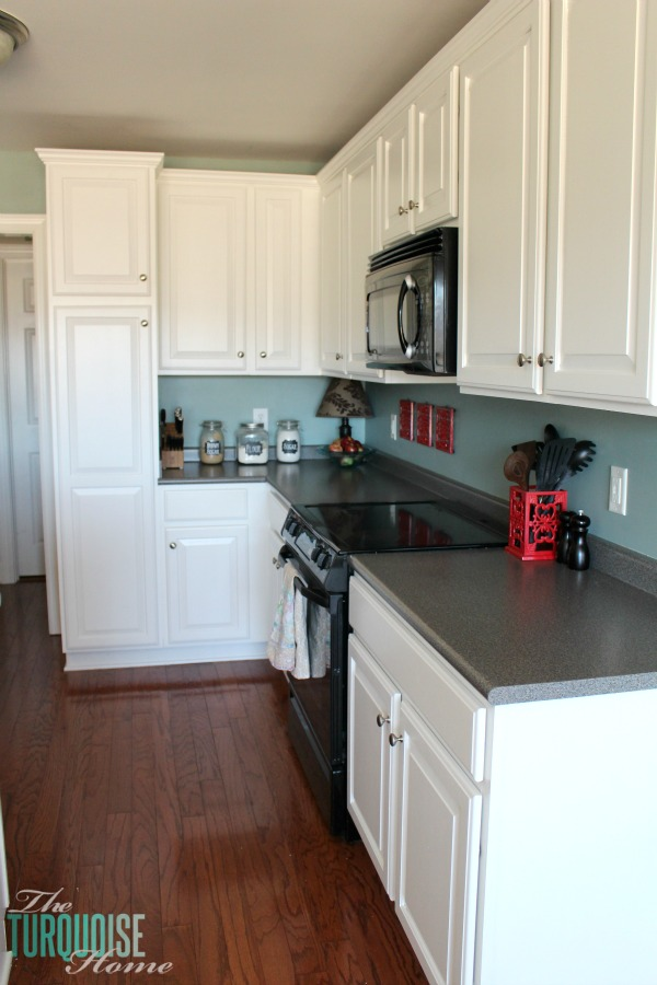 Grey Walls And White Kitchen Cabinets