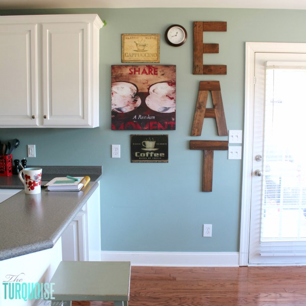 DIY Painted Kitchen Cabinets With Benjamin Moore Simply White And EAT Sign  From Pallets | Details