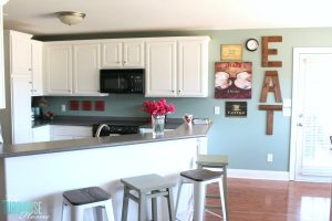 How to Paint Kitchen Cabinets | DIY Painted Kitchen Cabinets with Simply White from Benjamin Moore | Details at TheTurquoiseHome.com