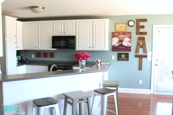 Sea salt kitchen the turquoise home for Benjamin moore paint colors for kitchen cabinets