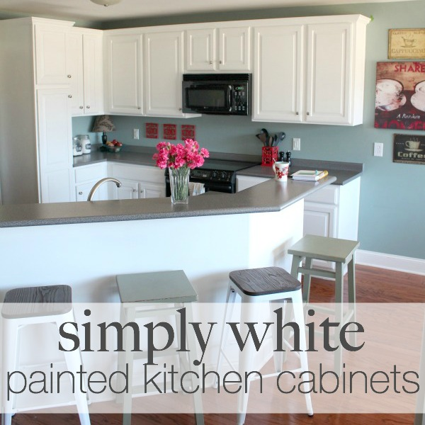 DIY Painted Kitchen Cabinets with Simply White from Benjamin Moore | Details at TheTurquoiseHome.com