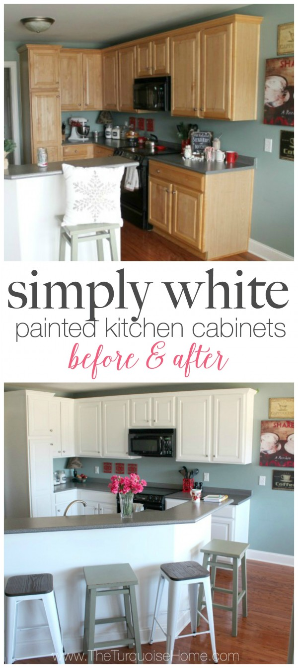 White painted kitchen cabinets before after for Before and after painting kitchen cabinets white