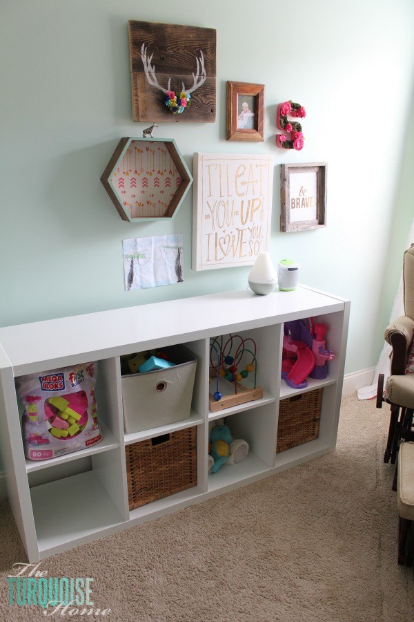 YAY! Toy storage for baby's room. Love this Kallax shelving unit from IKEA!