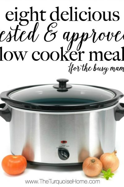 Check it out busy mamas!! Eight delicious tested and approved slow cooker meals.