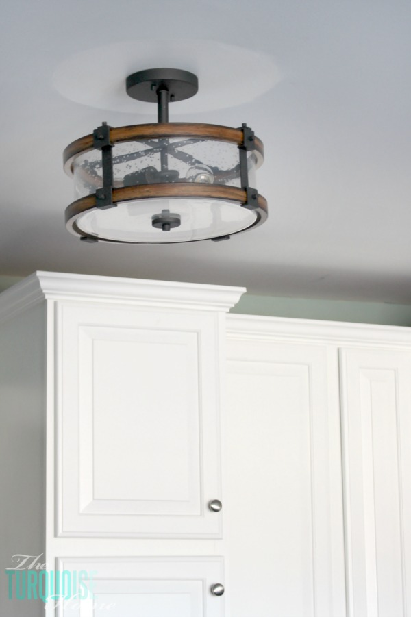 Gentil Barrington Semi Flush Mount Light In Wood And Distressed Black