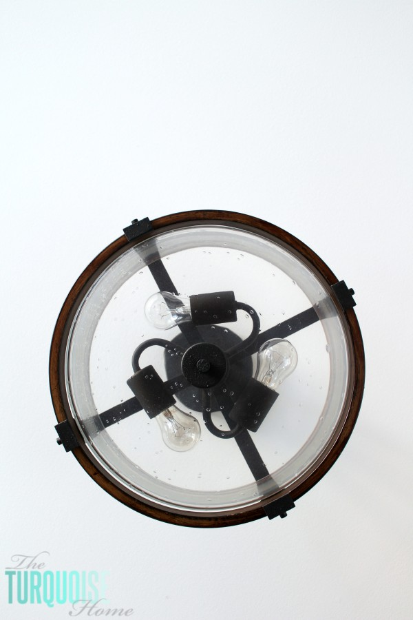 Barrington Semi-Flush Mount Light in Wood and Distressed Black