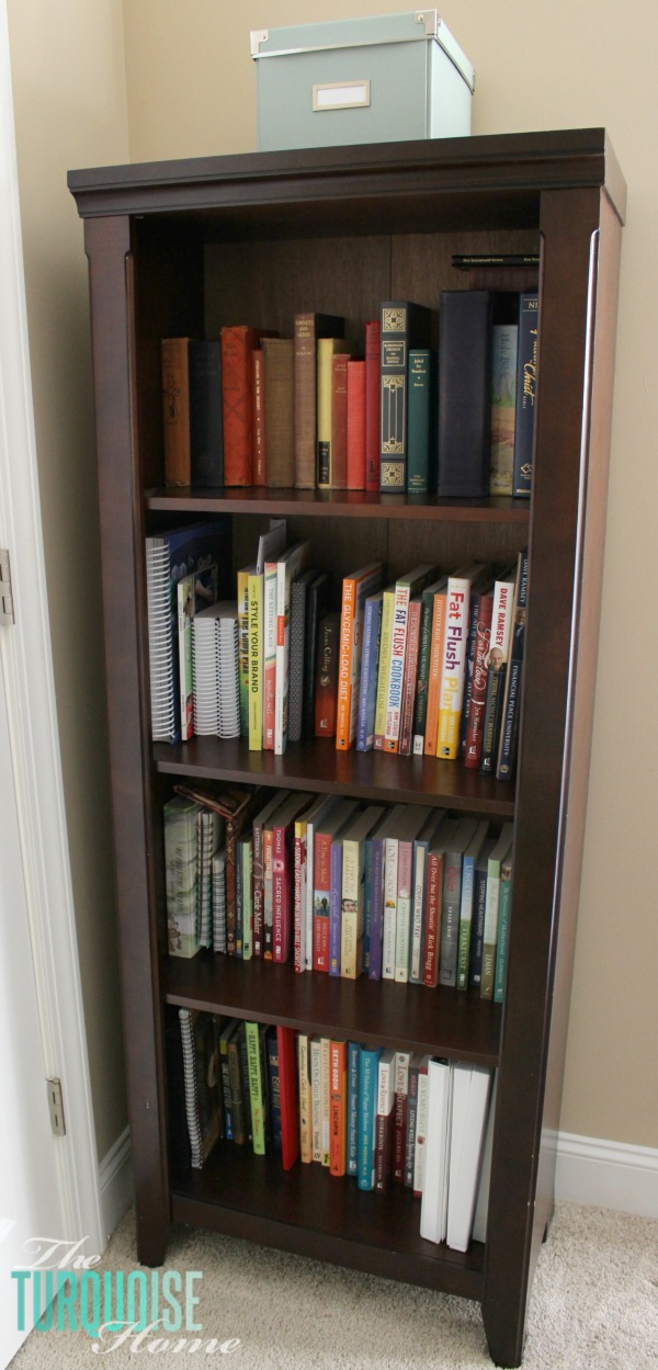 Tidy Bookshelf after using the KonMari Method of decluttering. These are all the books in my home except for cookbooks and my kids' books. | TheTurquoiseHome.com