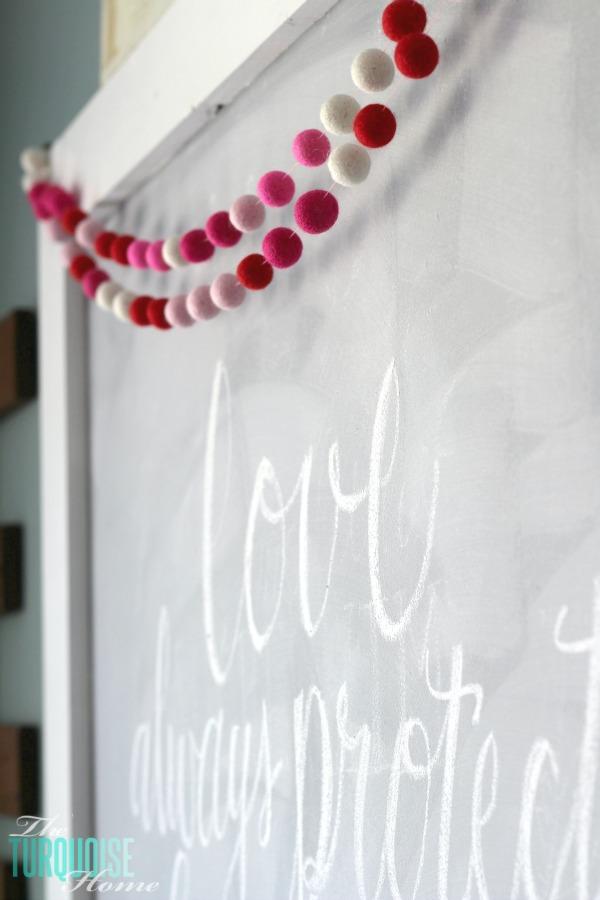 Love Never Fails Valentine's Day Chalkboard + DIY Felt Garland | TheTurquoiseHome.com