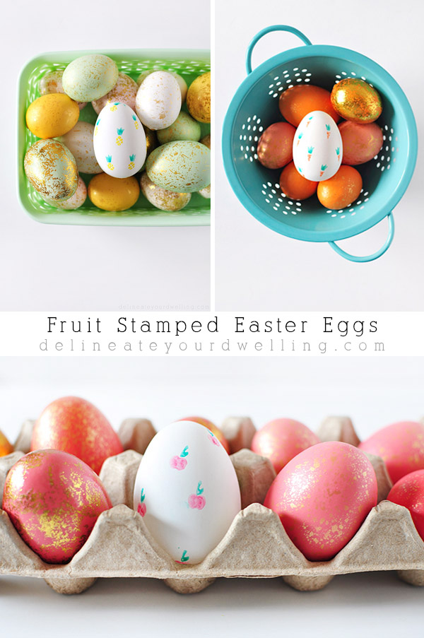 Fruit Stamped Easter Eggs