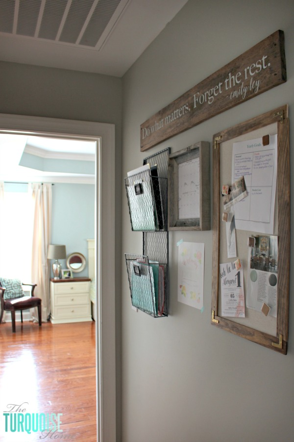 Don't let paper overrun your life!! How to Tame the Paper Clutter: Industrial Farmhouse Command Center | TheTurquoiseHome.com
