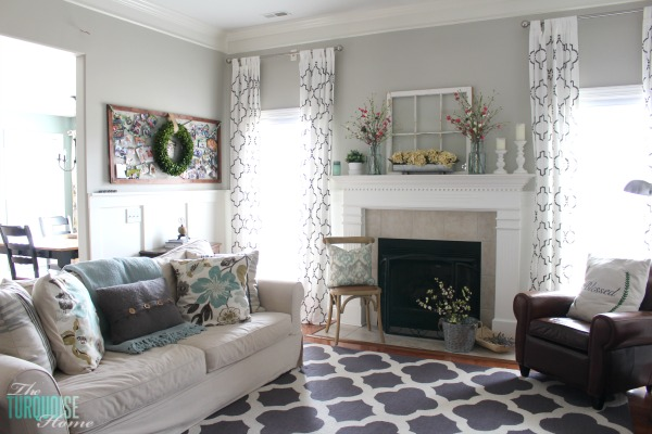 Farmhouse Fresh Spring Mantel | The Turquoise Home on Curtains For Farmhouse Living Room  id=65478