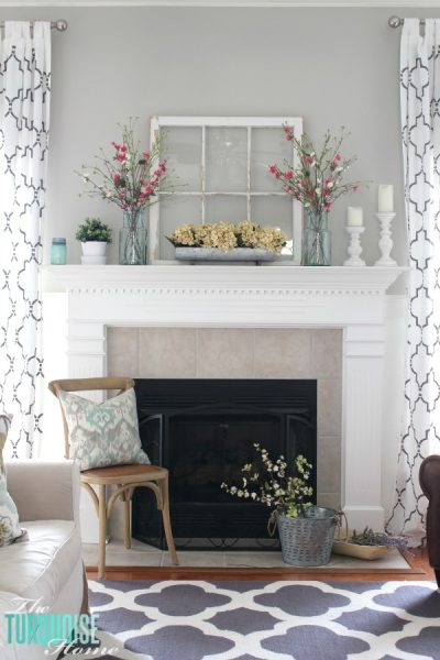 Farmhouse Fresh Spring Mantel | All the details to get this look at TheTurquoiseHome.com