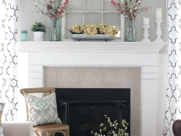 Farmhouse Fresh Spring Mantel   All the details to get this look at TheTurquoiseHome.com