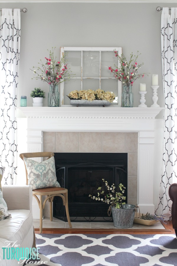 Beautiful Farmhouse Fresh Spring Mantel | All The Details To Get This Look At  TheTurquoiseHome.com