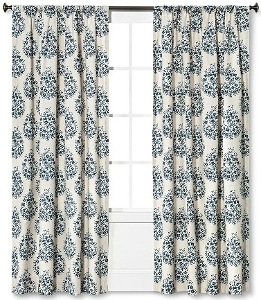 Gorgeous Blue Threshold Paisley Curtains | TheTurquoiseHome.com