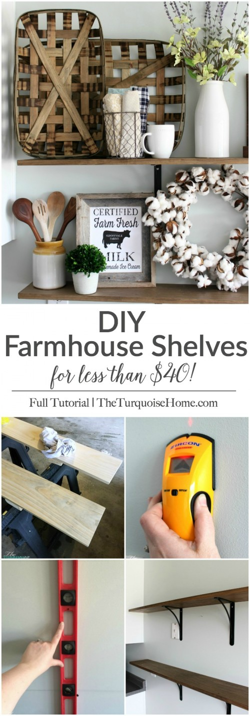These simple DIY farmhouse shelves are easy to install and cost less than $40! They are perfect for adding some fun decor to the kitchen and I can't wait to change them out each season. | DIY Farmhouse Shelves | TheTurquoiseHome.com