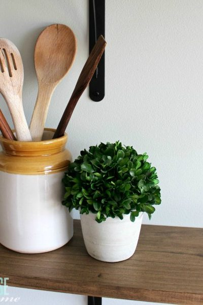 These simple DIY farmhouse shelves are easy to install and cost less than $40! They are perfect for adding some fun decor to the kitchen and I can't wait to change them out each season.   DIY Farmhouse Shelves   TheTurquoiseHome.com