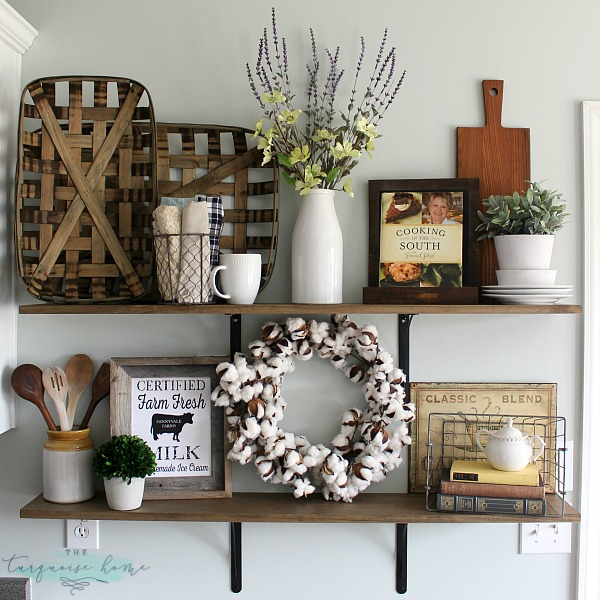 how to decorate shelves farmhouse decor