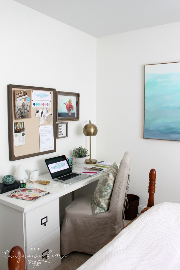 Simply White Painted Office | Easy Steps for Painting a Room | TheTurquoiseHome.com