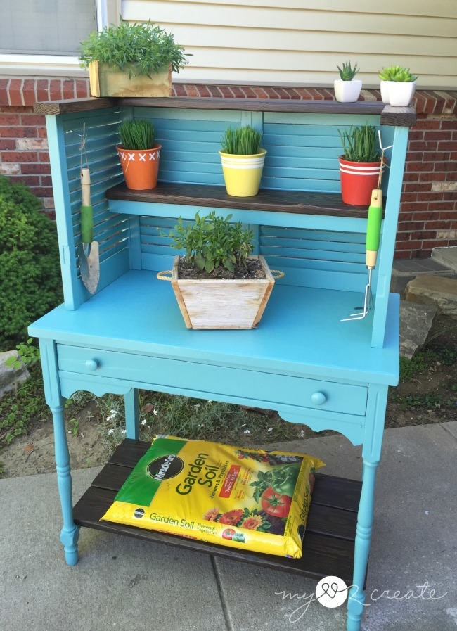 shutters and desk repurposed into potting bench, MyLove2Create