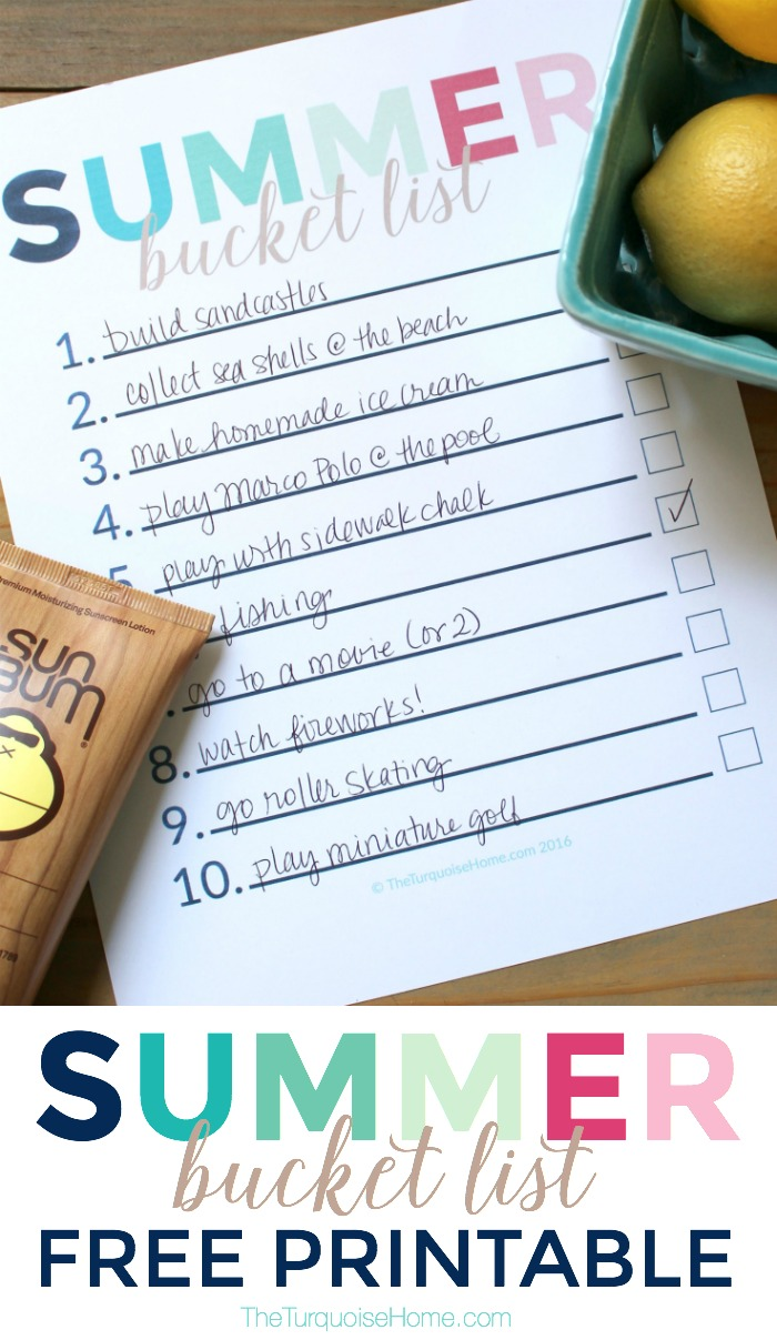 Have an intentional, fun and stress free summer!! Summer Bucket List Free Printable