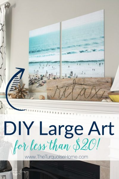Color engineer prints make a fabulous large wall decor solution on a budget! This print cost less than $12. So pretty and simple!