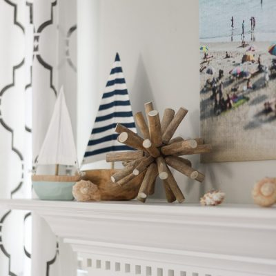 Such cute DIY projects, like the rope sign and the cheap large art! Relaxing at the Beach | Summer Mantel 2016