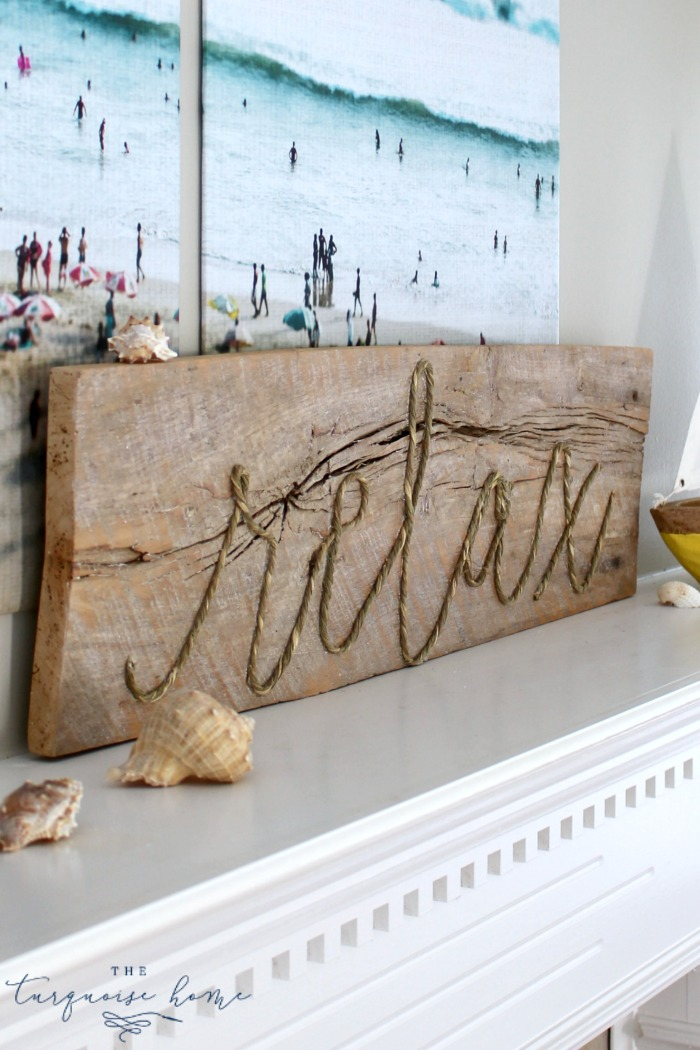 DIY Weathered Rope Sign