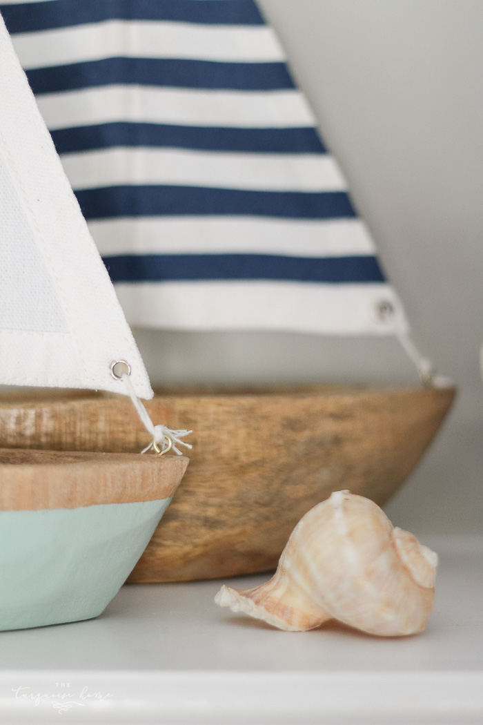The CUTEST sailboats for summer decor!! Relaxing at the Beach | Summer Mantel 2016