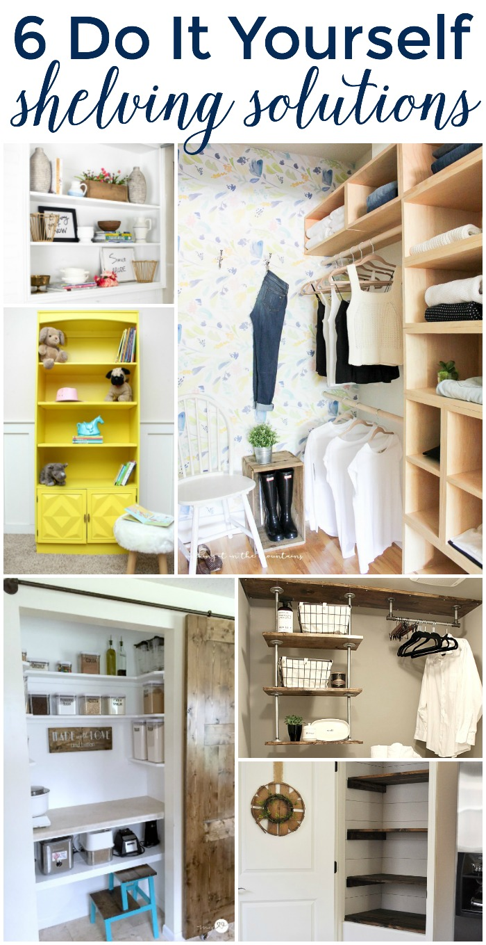 6 DIY Shelving Solutions featured at Work it Wednesday